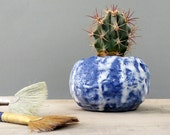 Blue Lava Drippy Volcanic Texture Roly Poly Planter - perfect for cactus succulent or air plant