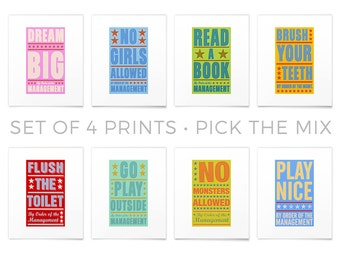 Nursery Wall Decor- By Order of The Management Set of 4 Prints- Pick your Mix- Nursery Decor- Nursery Wall Art- Nursery Signs