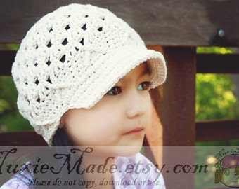 Pick Your Color Custom Newsboy Hat, 5T-Preteen Hat, Hat with Brim, Custom Newsboy Hat, Tween Newsboy Hat, Newsboy Girl Hat, Crochet Newsboy