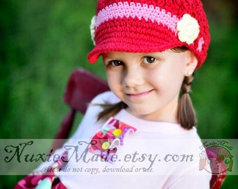 2T-4T Girls Hat, Crochet Hat, Kids Hat, Newsboy Hat, Newsgirl Hat, Red Hat, Hat with Brim, Child Hat, Childrens Hat, Hat with Flowers