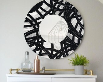 Black and Silver Circle Abstract Art - Handmade Metal Accent Mirror -  Modern Metal Wall Mirror - Circular Contemporary Mirror - Mirror 108