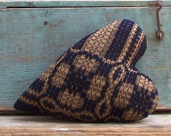 Rustic Heart Pillow, Antique Coverlet Pillow Americana Cottage Primitive Home Decor Small Pillow, Cushion, Navy Blue & Ecru - READY TO SHIP