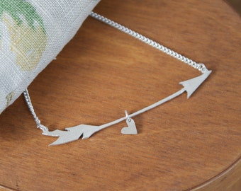 Arrow and Heart Handmade Silver and Gold Necklace