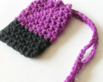 Cotton Crochet Soap Saver,  Purple and Black Soap Saver, Crochet Soap Bag, Croche Soap Sack, Ecofriendly, Reusable