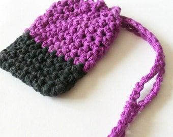 Cotton Crochet Soap Saver,  Purple and Black Soap Saver, Crochet Soap Bag, Croche Soap Sack, Ecofriendly, Reusable