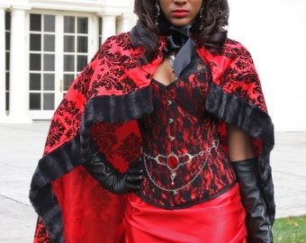 Victorian Bridal Cloak Capelet - Red and Black - Ready to Ship