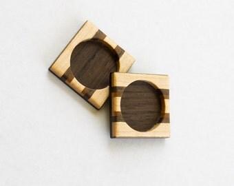 Miniature marquetry work hardwood bezels - Maple, Walnut and Mahogany - 25.5 mm cavity - 1 Inch - (F35-X) - Set of 2