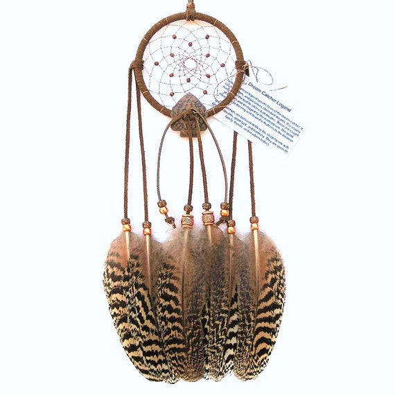 Medium Brown Dream Catcher, Peacock Wing Feathers