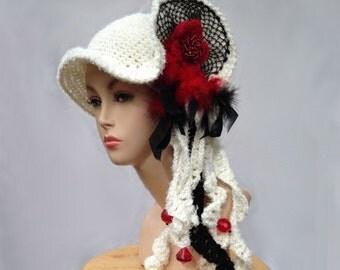 Unique designer hat white hat art to wear creative crochet hat for women statement hat freeform hat millinery cloche bucket dressy hat