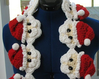 Crochet Pattern - Santa Head Scarf Crochet Pattern - Santa Claus Pattern - Women's Scarf Pattern - Christmas Holiday Gift - Digital Download