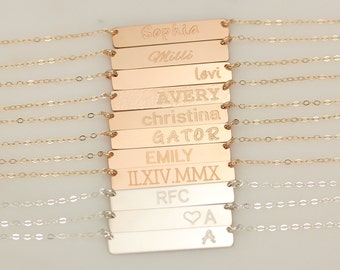 Bar Necklace, Personalized Nameplate Necklace, Initial Gold Bar Necklace, Rose Gold Name Bar Necklace, Silver Monogram Necklace