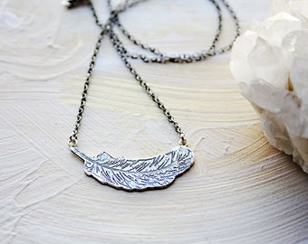 Feather necklace, sterling silver necklace, silver feather necklace, bird jewelry, nature jewelry, etched silver
