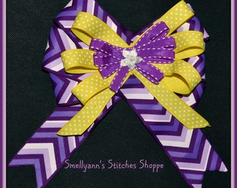 Gorgeous LARGE Hair Bow in Purple, Lavender and Sunny Yellow with Aster Embellishment