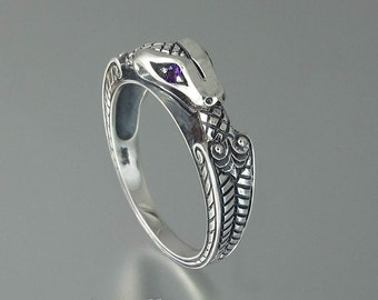OUROBOROS silver mens Snake ring with Amethyst eyes