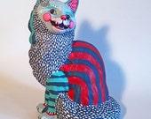 Happy Cat - orignal hand painted found object sculpture