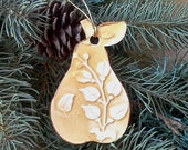 Ceramic Pear Christmas Ornament Mustard Yellow edged in gold