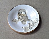 Ceramic Owl small Ring Bowl edged in gold