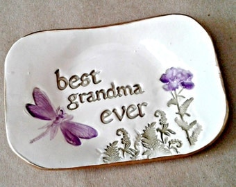 Best GRANDMA Ceramic Trinket  Dish edged in gold  Mothers day