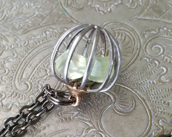 Prehnite Chalcedony  Necklace, Crystal Cage Pendant, Birthstone Necklace, Cage Pendant, Raw Gemstone, Spiritual Jewelry, Protection Necklace