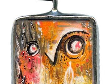 Owls Have One Wisdom Eye, Shaman Orange, soldered glass pendant, original art