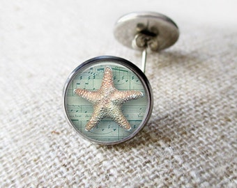 Nautical Starfish Print. Nautical Earrings. Seafoam Blue. Summer Earrings. Stud Post Earrings. Gifts for Her. Silver or Brass - STARFISH