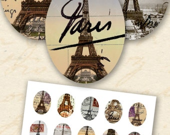 Instant Download Paris Ephemera, Printable 30x40 mm Oval, Paris France Instant Download Eiffel Tower, Digital Vintage Ovals - piddix 657