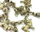 50s Dog Charm Bracelet / Vintage 1950s Detailed Die Cast Dog Charm Bracelet / Whitewash Metal Scottie Poodle Spaniel Boxer & Lhasa Apso