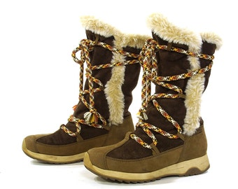 90s Tecnica Waterproof Boots / Vintage 1990s Brown Suede & Leather Lace Up Winter Snow Boots / Lined After Ski Booties / Women's Size 7