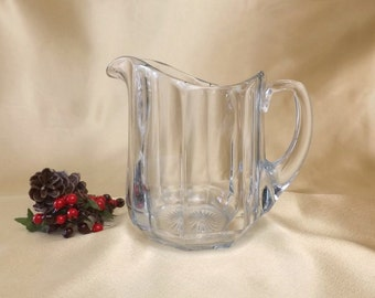 Heisey Glass Pitcher, Vintage Plain Panel Recessed Pattern, Signed & Patented 1910, Medium Sized 40 oz Jug, Vintage Kitchen Serving