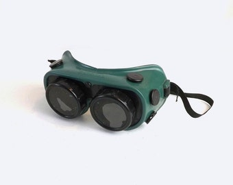 Gateway Welding Goggles, Vintage Green & Black Rubber Safety Glasses, Steampunk Eyewear, Dark Lenses