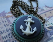 Anchor Cameo Necklace, Patina Brass, Nautical Style, Boxing Day Sale