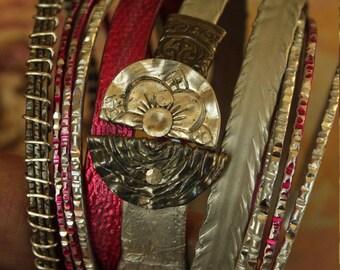HOT PINK and silver boho GYPSY bangle stack .... smashed knitting needle Bracelets and beaten bollywood bangles