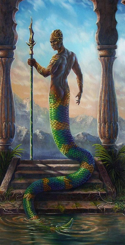 Original fantasy Art Original oil painting Serpent Naga