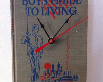 A Boy's Guide to Living Upcycled Book Clock