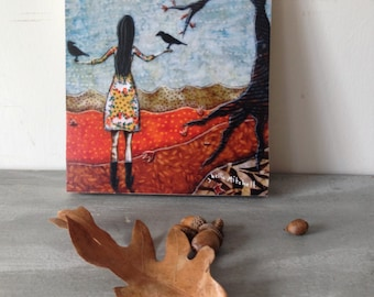Gathering Blackbirds, one of a kind Mounted Print, orange autumn woodland, on wood panel