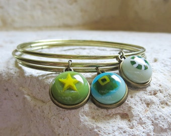 Bangles, Boho Chic Bracelet Set, Fused Glass Bangles, Stacking Bangles, Bohemian Gypsy Jewelry