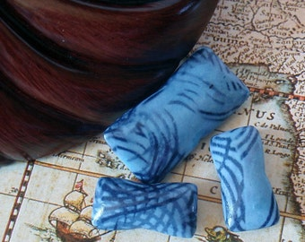 Blue Black Pillow Beads, Polymer Clay, Silk Fabric Dye Transfer, Tiger Striped
