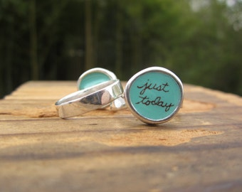 Just Today Ring - Sterling Silver and Vitreous Enamel Message Ring