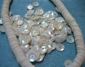 Vintage Sequins Strand WARM WHITE AB cupped Full Strand 6mm