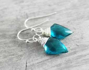 Teal Blue Earrings, Quartz Gemstone Earrings, Sterling Silver Earrings, Wire Wrap Earrings, Dangle Drop Earrings, Turquoise Blue Earrings