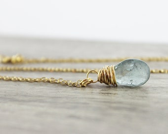 Moss Aquamarine Necklace, Gold Filled Necklace, Small Pendant Necklace, Light Blue Necklace, Aquamarine Gemstone Necklace, March Birthstone