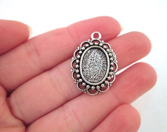 10x14mm silver bezel pendants, pick your amount B221