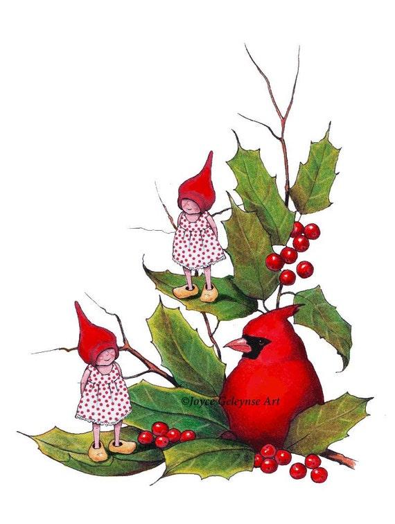 printable christmas clip art gnomes with cardinal bird. Black Bedroom Furniture Sets. Home Design Ideas