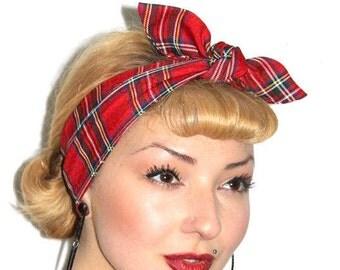 Red Tartan 50s Style Head Scarf
