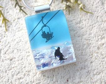 Petite Ski Jewelry, Skier Necklace, Dichroic Necklace, Necklace Included, Dichroic Jewelry, Skiing Pendant, Winter Snow Sports, 071816p101