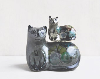 "2 Vintage Mexican Ceramic Cat Figurines - 2.5"" and 4.5"" folk art hand painted mother and kitten - made in Mexico"