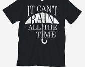 """The Crow TShirt. Black / White - Mens / Womens Unisex Jersey Short Sleeve Tee """"It Can't Rain All The Time"""" Graphic Print Shirt"""