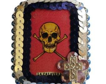 La Calavera Loteria, Mexican Tin Box, Metal Stash Box, Mexican Kitsch, Skull and Crossbones, Skull Tin Box, Loteria Candy Tin, Loteria Card
