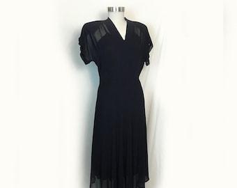Vintage Dress, 1950's, Sheer Overdress, Navy, Organdy, Side Zipper, Shoulder Pads, Short Sleeves, Knee Length, Small/Medium