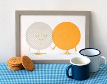 Tea & Biscuit - A4 - 2 colour screenprint